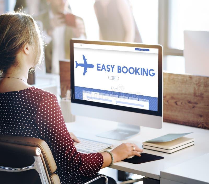 Concept facile de tourisme de vol de vacances de réservation images stock