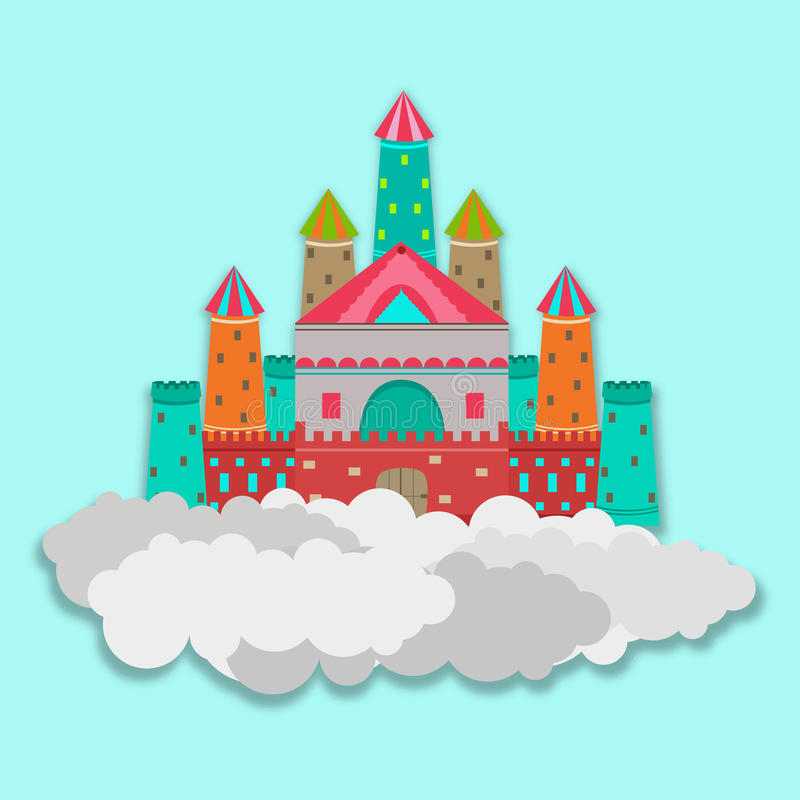 Concept of fairy tales with castle. Colorful royal castle on clouds for fairy tales concept on sky blue background vector illustration