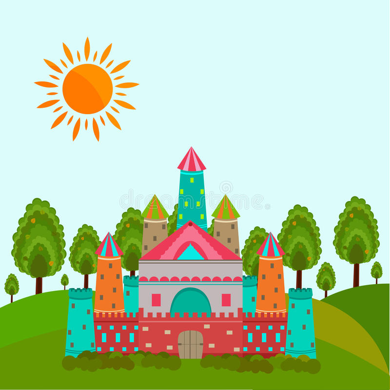 Concept of fairy tales with castle. Colorful royal castle for fairy tales concept with sun on nature view background stock illustration
