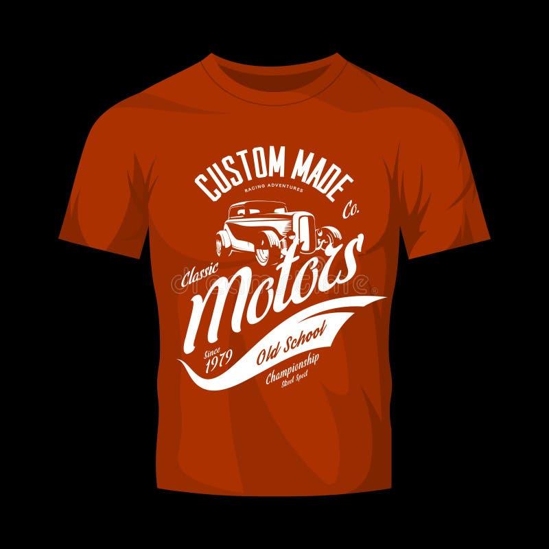 Concept fait sur commande de logo de vecteur de moteurs de hot rod de vintage d'isolement sur la moquerie rouge de T-shirt  illustration stock