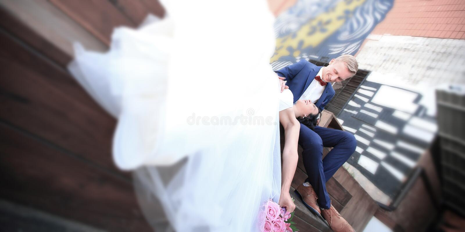 Concept of family happiness.loving couple on the wedding day. Photo with copy space stock photos