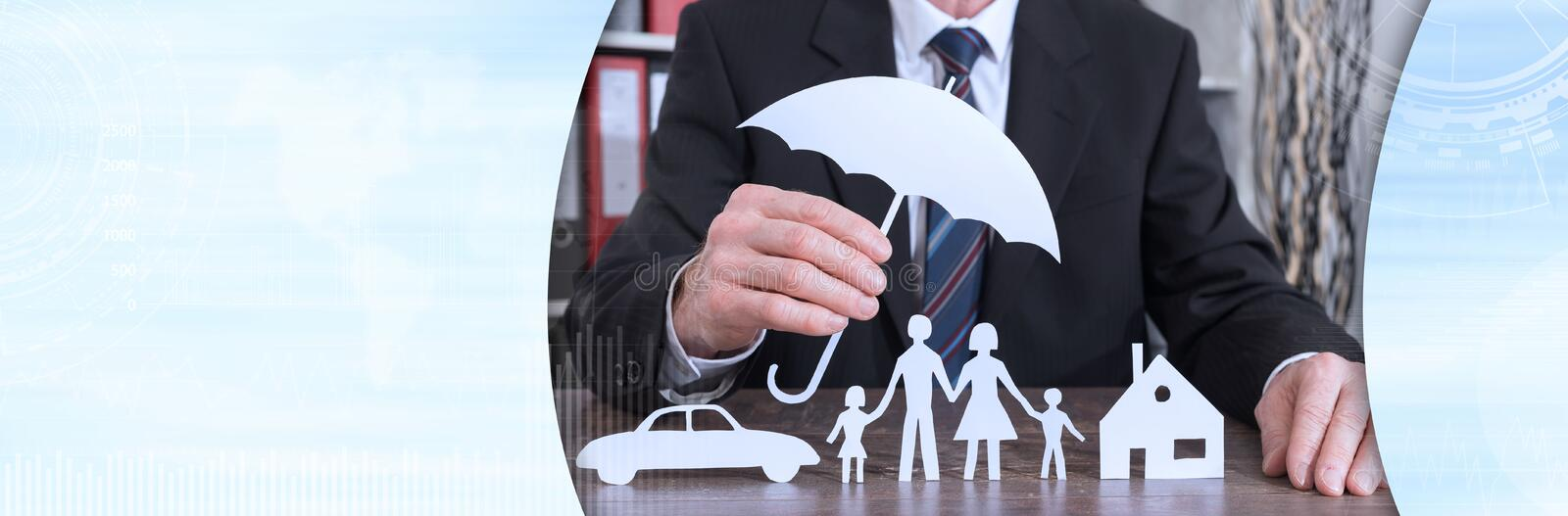 Concept of family, home and car protection, color effect royalty free stock photos