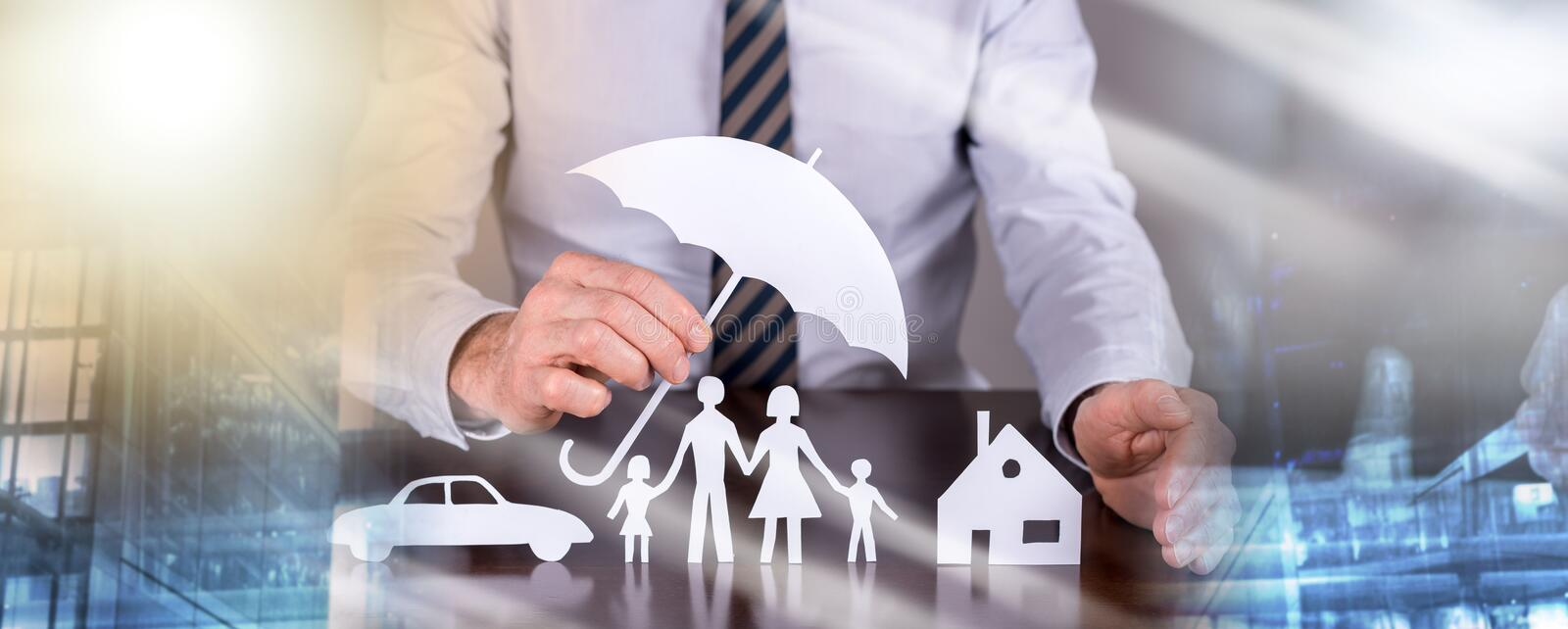 Concept of family, home and car protection; multiple exposure stock image