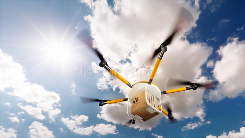 Concept of fast autonomous drone delivery. 3D rendering vector illustration