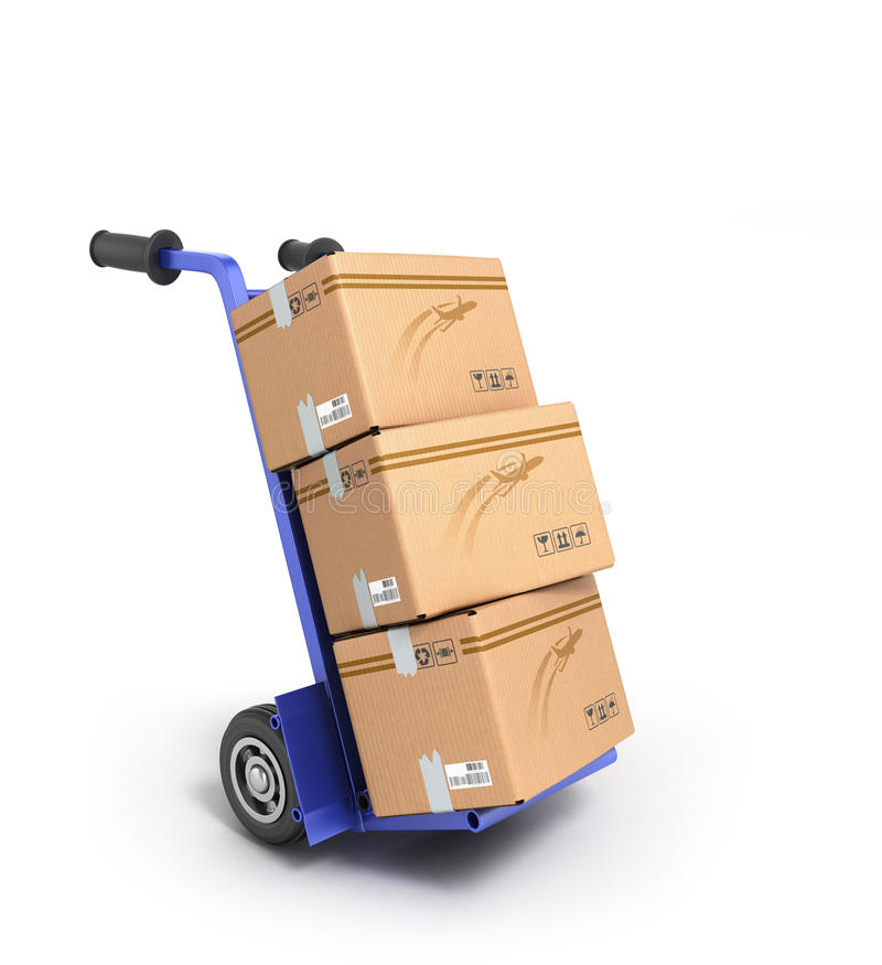 Concept of fast delivery, the box on the two-wheeled trolley. Concept of fast delivery, the box on the two-wheeled royalty free stock photo