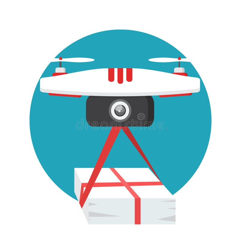 Dron delivers the parcel. The concept of fast, free delivery. The concept of fast, free delivery, gift. Dron delivers the parcel royalty free illustration