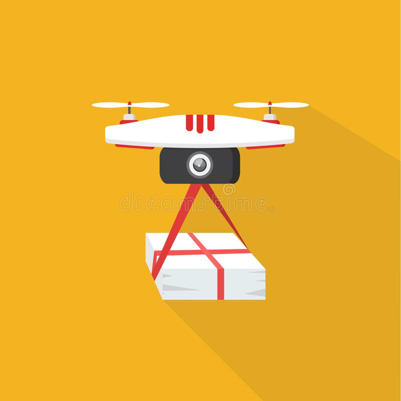 Dron delivers the parcel. The concept of fast, free delivery,. The concept of fast, free delivery, gift. illustration. Dron delivers the parcel vector illustration