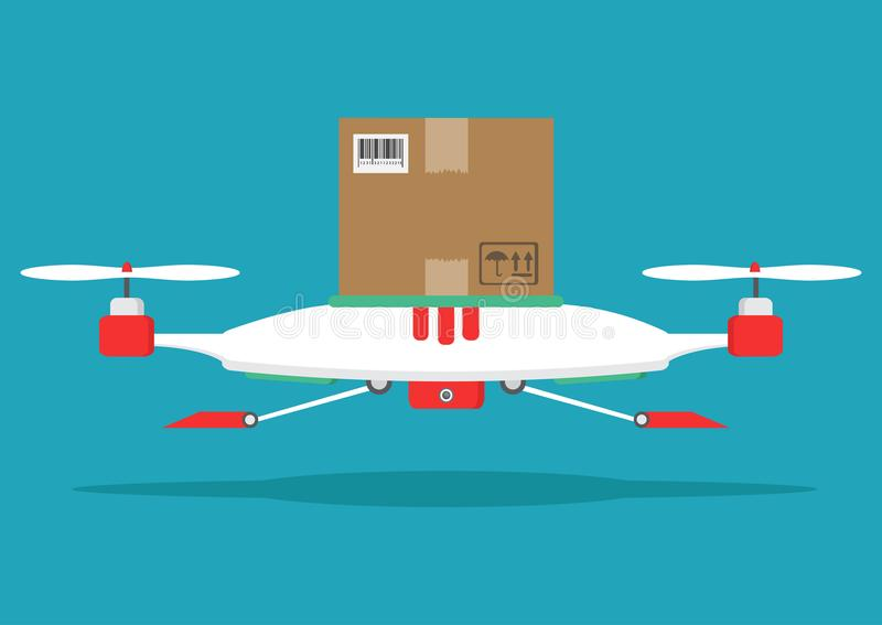 Dron delivers the parcel. The concept of fast, free delivery, gi. The concept of fast, free delivery, gift. illustration. Dron delivers the parcel stock illustration
