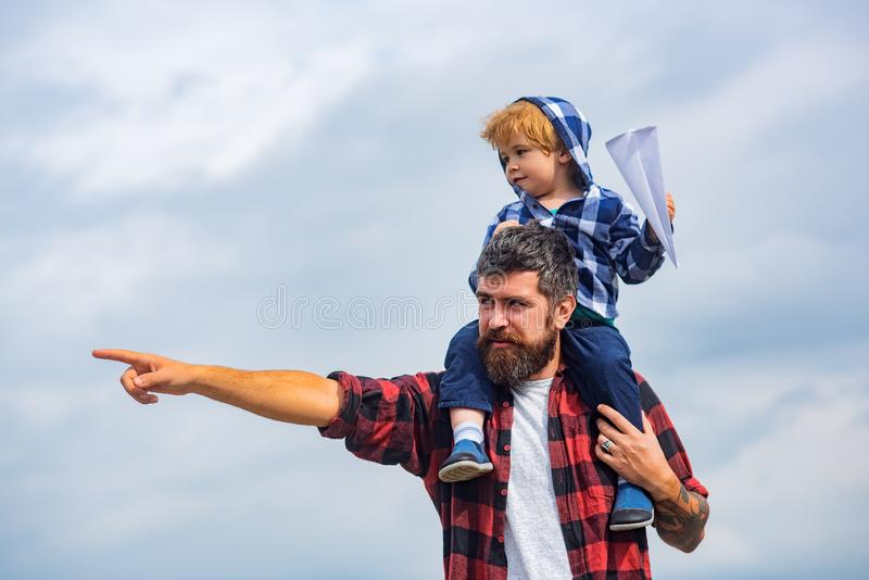 Concept of Fathers day. Father and son together royalty free stock image