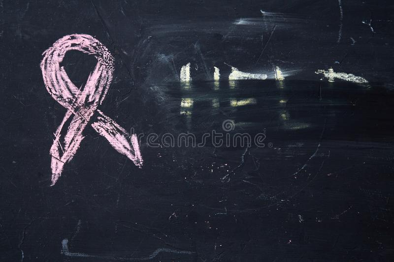 Concept for fear, domestic violence and family or child abuse. Purple ribbon symbol.  stock photography