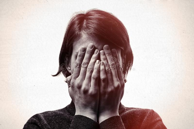 Concept of fear,shame, domestic violence. stock photography