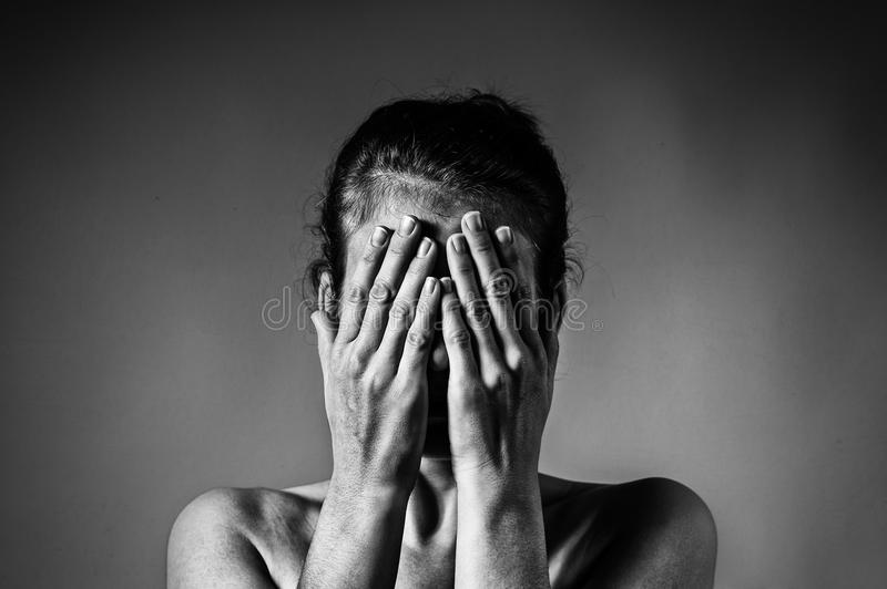 Concept of fear, shame, domestic violence. royalty free stock photos