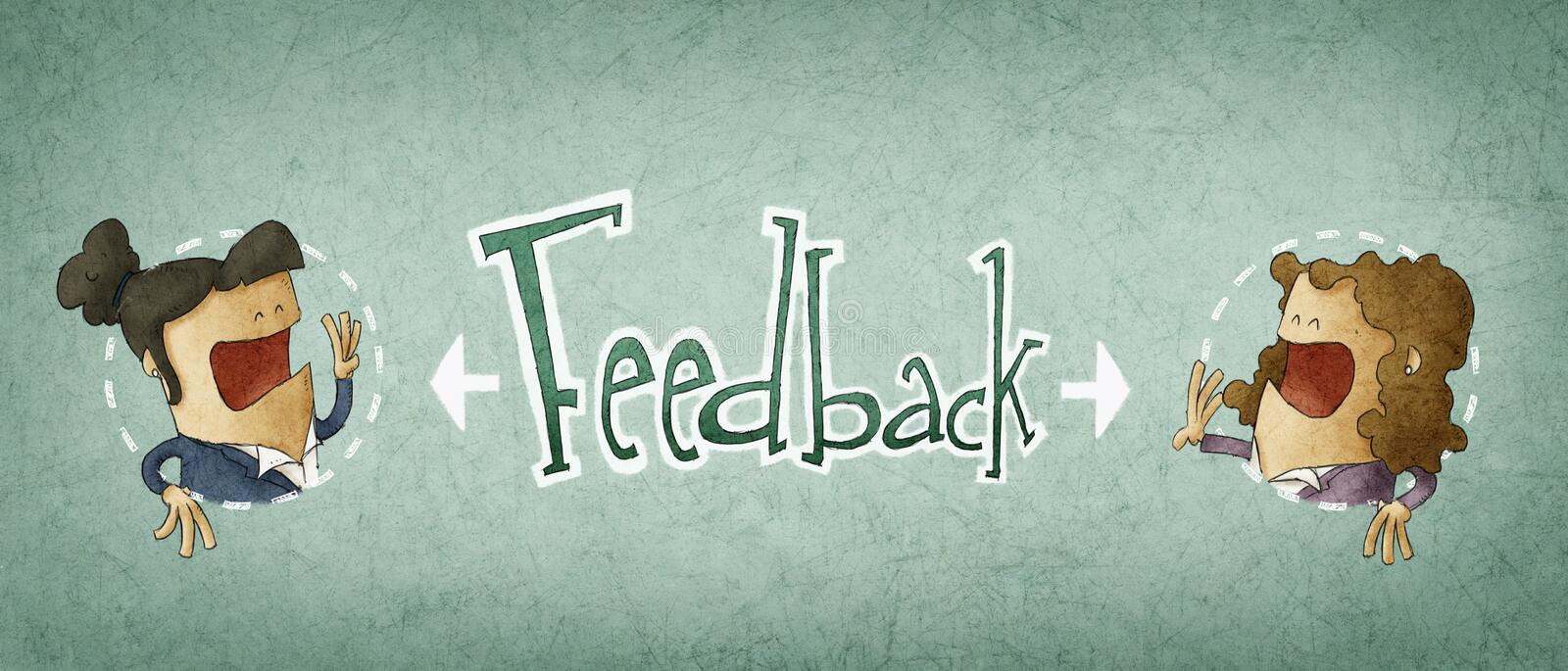 Concept of feedback. Illustration of two businessman royalty free illustration