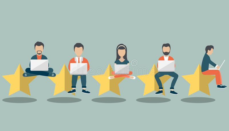 Concept of feedback, testimonials messages and notifications. Rating on customer service illustration. Five big stars. With people sitting on them and giving vector illustration