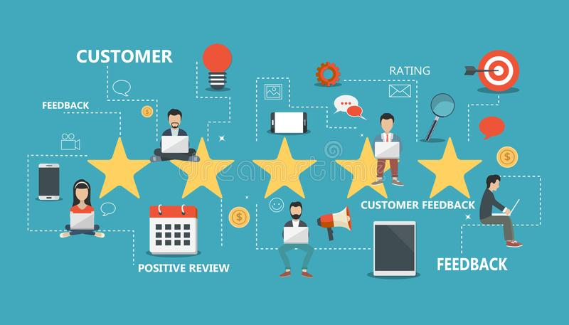 Concept of feedback, testimonials messages and notifications. Rating on customer service illustration. Five big stars with people. Sitting on them and giving royalty free illustration