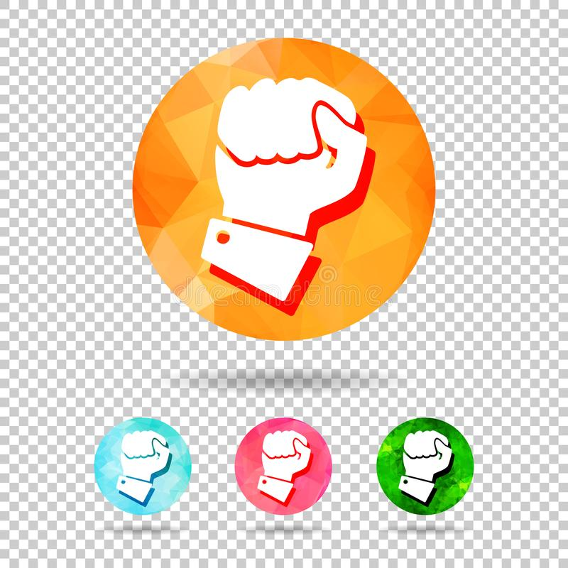 Concept of fighting for rights. Abstract geometric triangular colorful icon hand compressed in fist on chequered background. Vector, illustration, line, power royalty free illustration