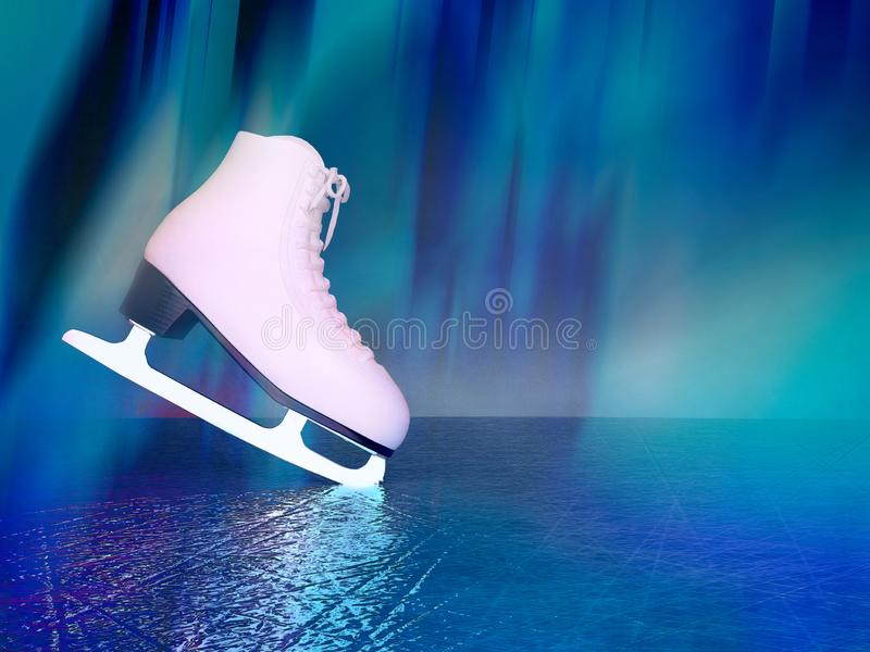 Concept of figure skating. The skates for figure skating located on skating rink stock images