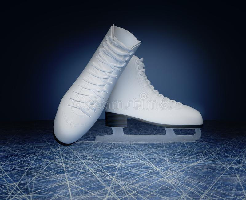 Concept of figure skating. The skates for figure skating located vector illustration