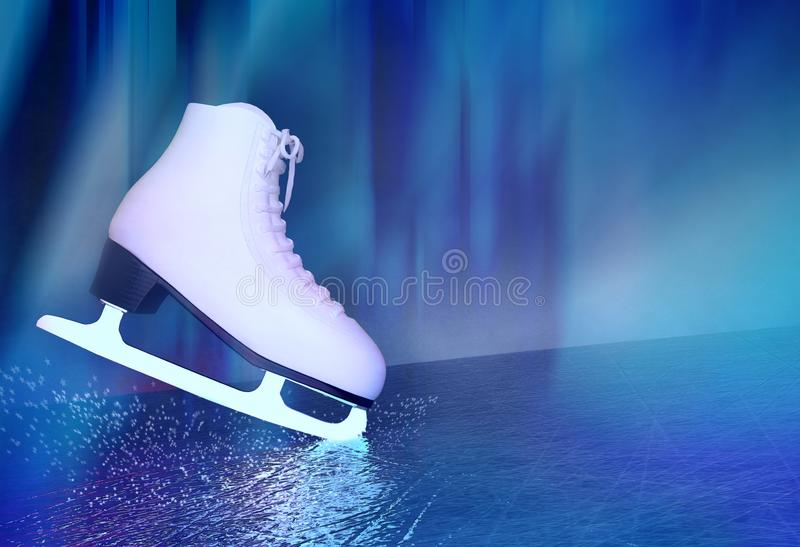 Concept of figure skating. The skates for figure skating located on skating rink.  royalty free stock images