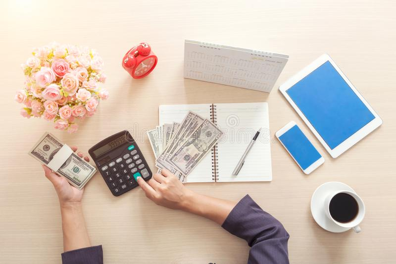 Concept finance and accounting. Working in office. royalty free stock photo