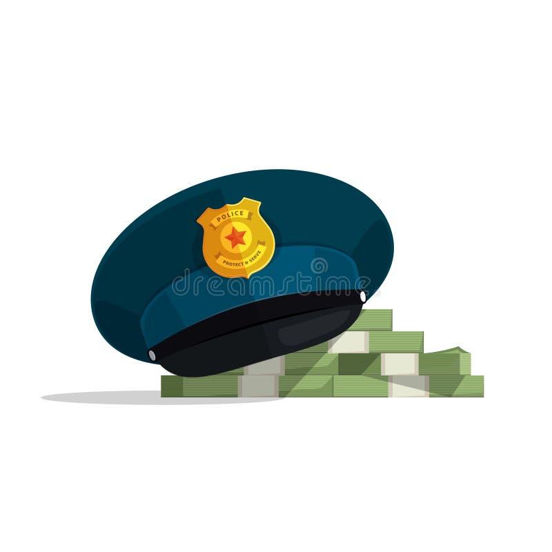 Concept financiële corruptie, officiële veiligheid, wetssteekpenning stock illustratie
