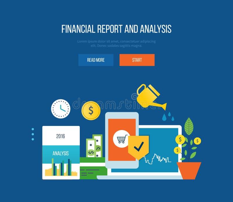 Concept - financiën, financiële verslaglegging en analyse, beheer planning stock illustratie