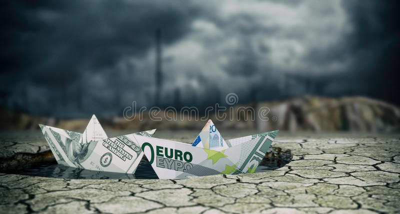 Concept of financial crisis. Two paper boats made with banknotes on a puddle of water and dry ground, stormy sky, concept of financial crisis (3d render stock illustration