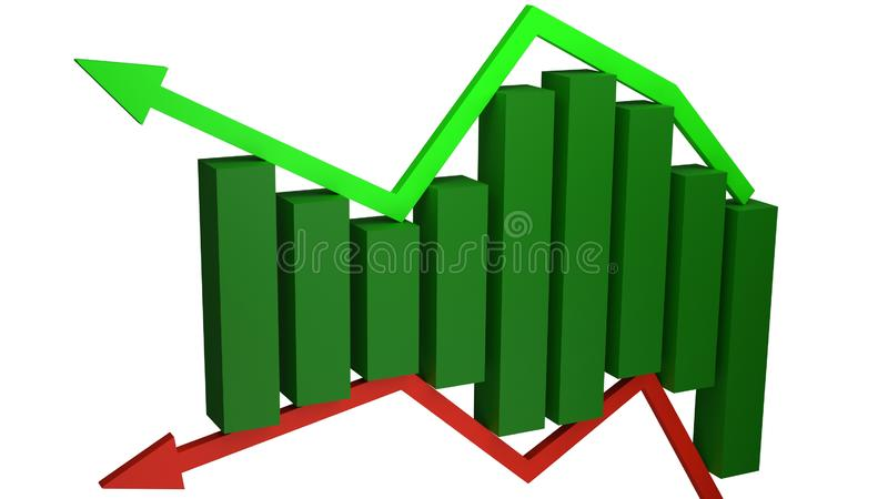 Concept of financial gains and losses represented by green bars sitting between green and red arrows royalty free illustration