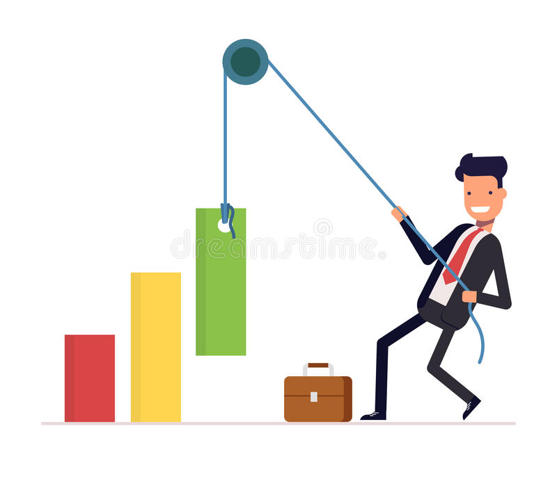 Concept of financial growth. Businessman or manager pulls the rope rising income. Smiling man in a business suit. Vector. Illustration EPS10 royalty free illustration