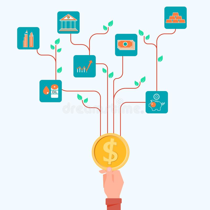 Concept of financial and investment tree growing. vector illustration