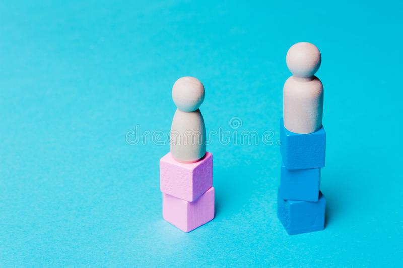 Figures of men and women. Discrimination, sexism, feminism, gender royalty free stock photography