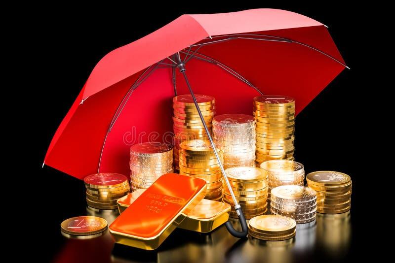 Concept financier d'assurance Euro pièces de monnaie et lingots sous l'umbrell illustration stock