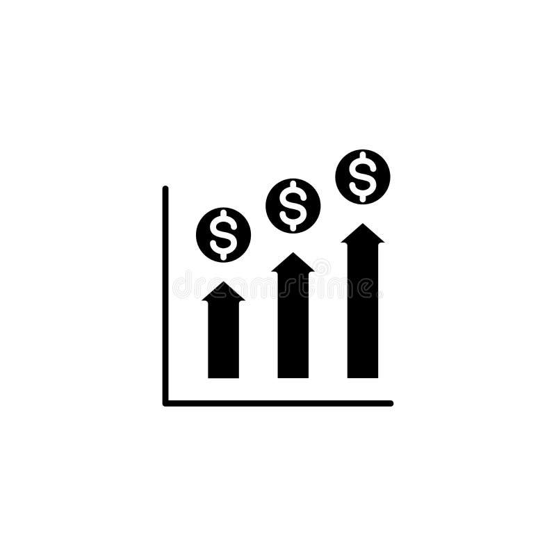 Concept financier d'icône de noir d'analytics Symbole plat de vecteur d'analytics financier, signe, illustration illustration libre de droits