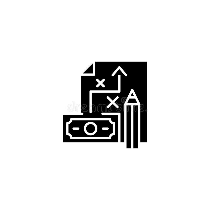 Concept financier d'icône de noir de stratégie marketing Symbole plat de vecteur de stratégie marketing financière, signe, illust illustration stock