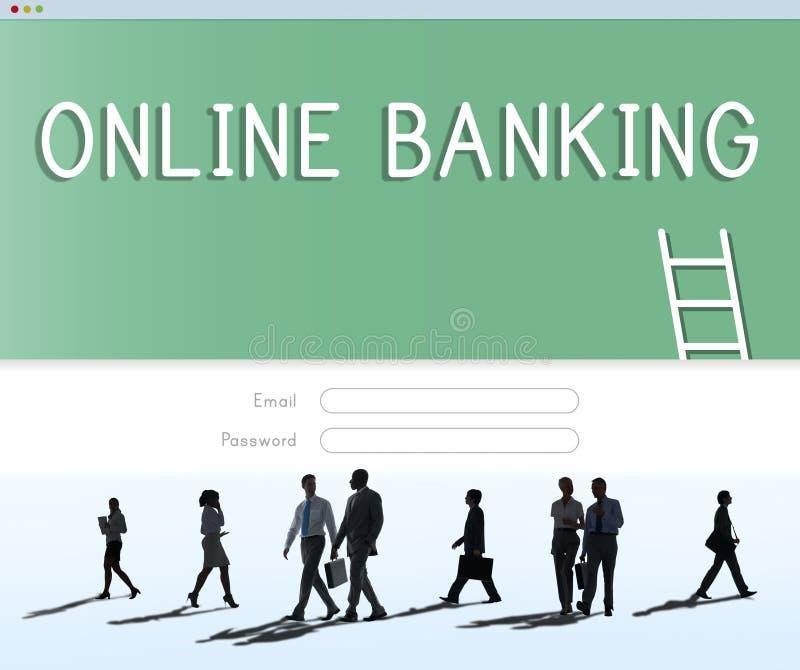 Concept financier de comptabilité d'opérations bancaires en ligne images libres de droits