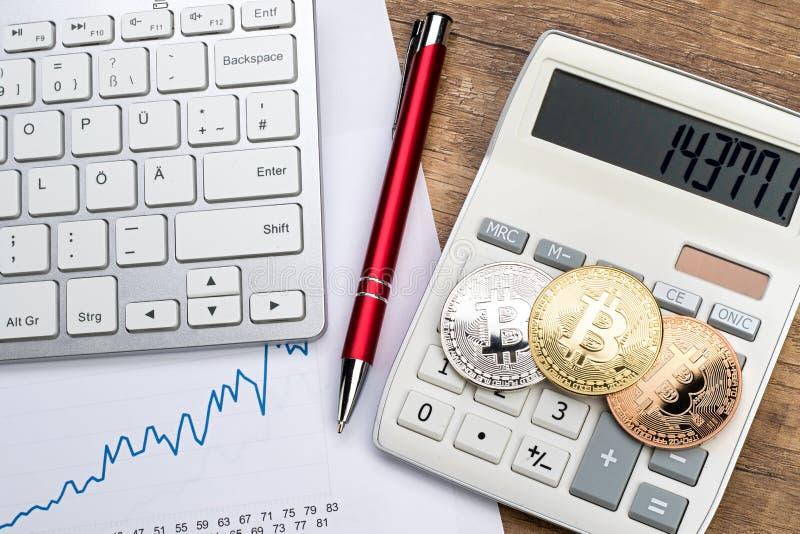 Concept financier de crypto devise de Bitcoin photographie stock