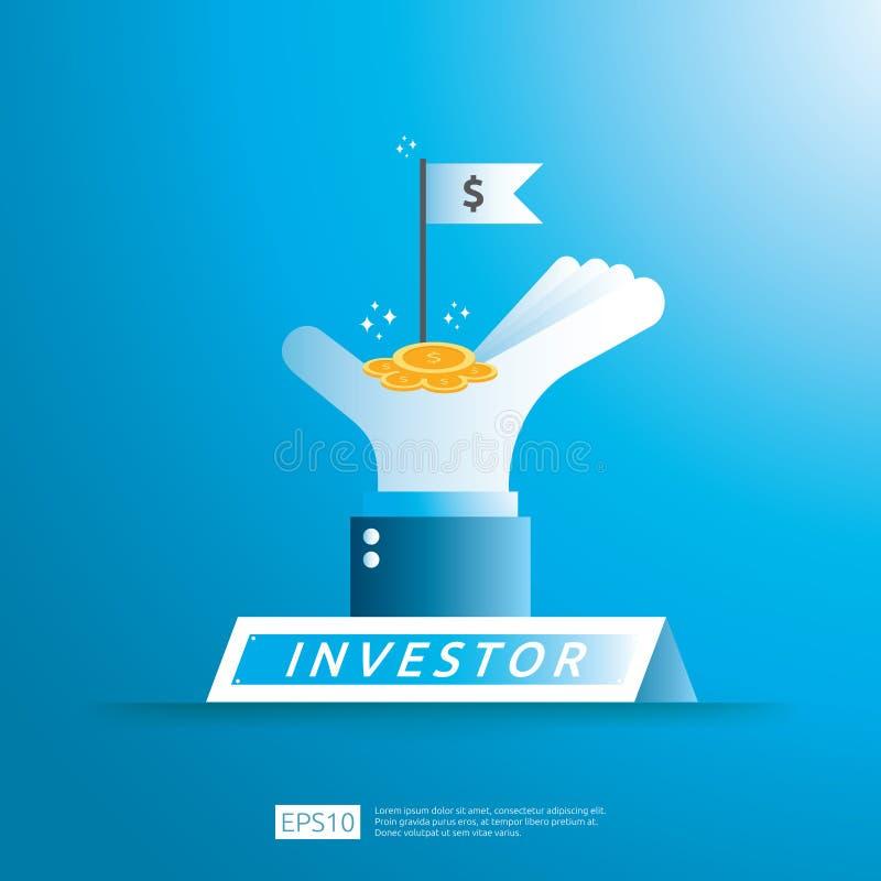 concept financier de placement d'investisseur d'affaires avec la pi?ce de monnaie d'argent et le drapeau de symbole de succ?s dan illustration de vecteur