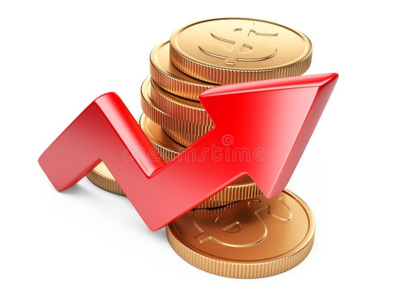 Concept financier de réussite Flèche et pièces de monnaie rouges illustration stock