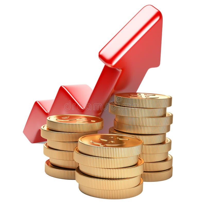 Concept financier de réussite Flèche rouge haute et pièces d'or illustration libre de droits
