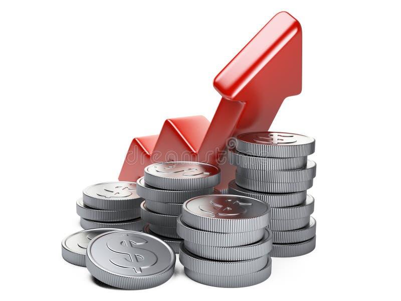 Concept financier de réussite Pièces hautes et en argent de flèche rouge illustration de vecteur