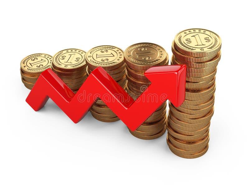 Concept financier de réussite Rouge représentez- graphiquementles et les dressez une carte illustration de vecteur