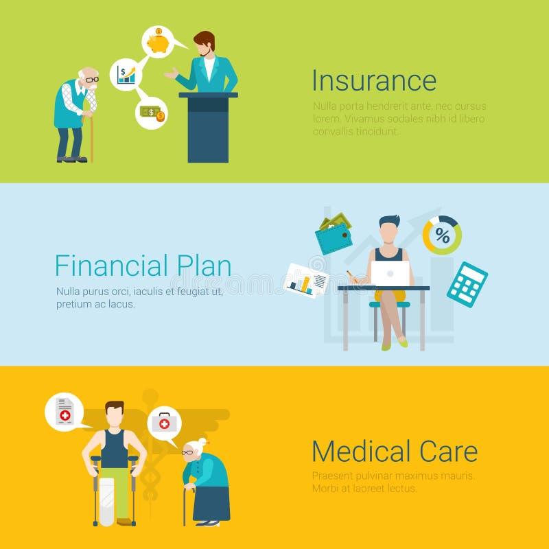 Concept financier de soins médicaux de plan de style d'assurance plate de site Web illustration libre de droits