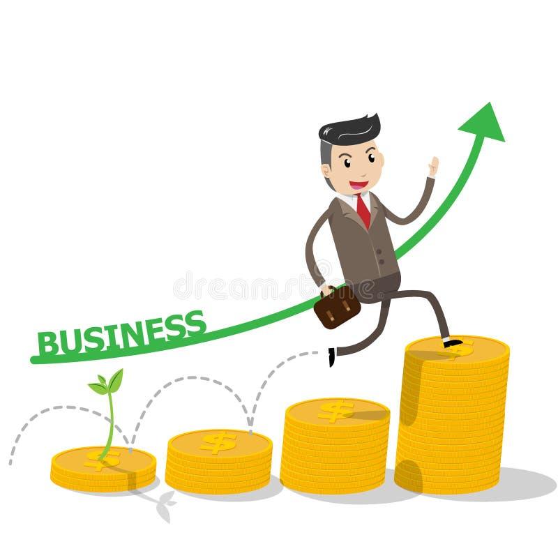 Concept financier de succès de croissance avec s'élever heureux d'homme d'affaires illustration stock