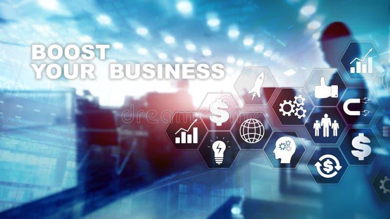 Concept financier et de technologie Sur une inscription d'?cran virtuel : Amplifiez vos affaires illustration de vecteur