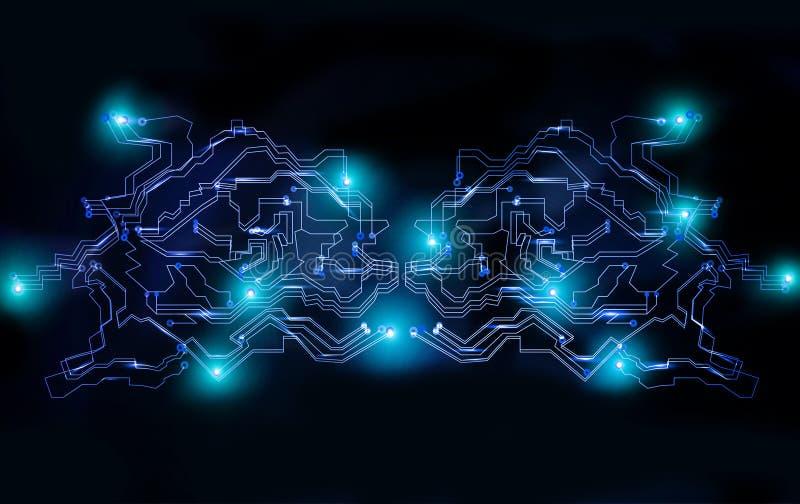 Concept financier futuriste de sécurité de réseau de cyber global illustration de vecteur