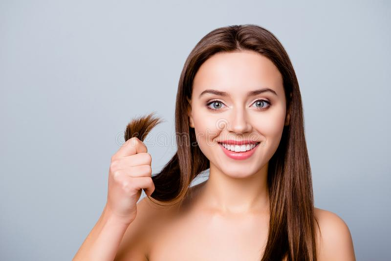 Concept of finding a good solution in treating damaged hair ends royalty free stock image