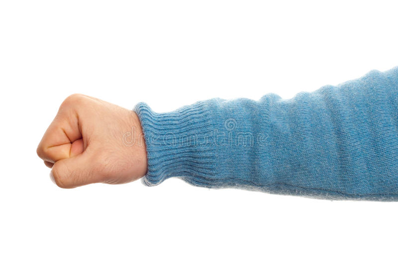 Concept of fist with hand. On white background royalty free stock photos
