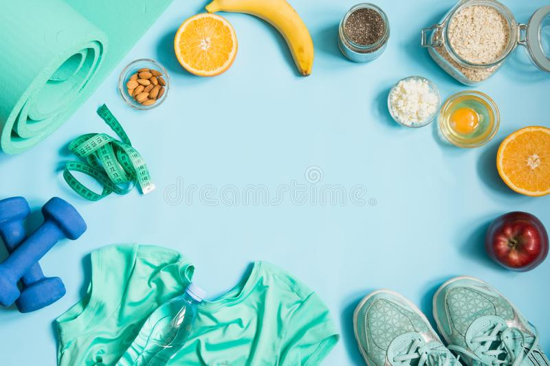 Concept fitness and healthy clean eating. Space for text. View from above royalty free stock photography