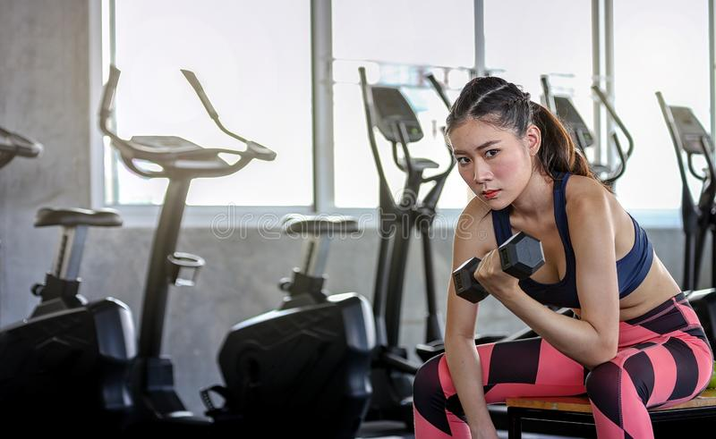 Concept fitness sport training lifestyle. Girl lifting dumbbells. Active sport athletic woman with dumbbells pumping up muscles royalty free stock images
