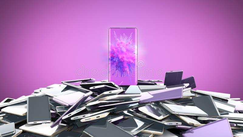 Concept of flagman model Modern full screen smart phones random color 3d render on color vector illustration